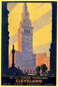 Cleveland Union Terminal Tower City Center Travel Vintage Poster Repro Free S/h