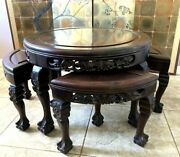 Antique Qing Chinese Rosewood Tea Table W/ 4 Nesting Stools Singapore Label