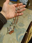 Antique 1850s German Bavarian Sacred Heart Coral Sterling 800 Silver Rosary