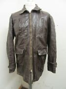 Vintage 50and039s Usa Leather Half Belt Sports Cyclist Jacket Size Xl Conmar Zip