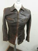 Vintage 1930and039s Ww2 German Distressed Leather Cyclist Jacket Size Xs Ritsch Zips