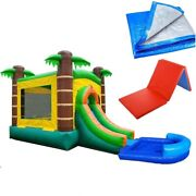 Tropical Inflatable Bounce House Slide Pool Vinyl Jump Castle 4x6and039 Mat And Tarp