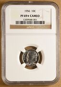 1956 Proof Roosevelt Silver Dime Ngc Pf 69 Star Cameo