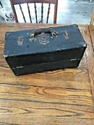 Antique Leather- Wood Fishing Tackle Box