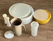 Vintage Tupperware Lot - 6 Pieces With Lids - Pitcher Sandp Bowl Yellow Almond
