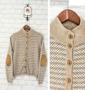 Heritage 100 Pure Cashmere Knit Patches Cardigan Sweater Size It42/uk10/s