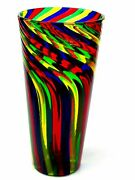 Wow Signed Superb Murano Ballarin Art Glass Multi Coloured Spiral Conical Vase