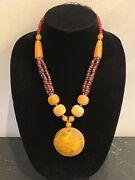Vintage African Butterscotch Resin With Red And Silver Color Beads Necklace