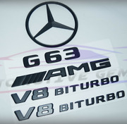 For Mercedes Emblem Star Boot Trunk Badge G63 Amg V8 Biturbo Matte Black Badge