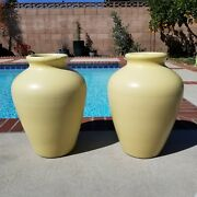 2 Zanesville Mccoy Huge Oil Jars In Mint Condition. Yellow Mid Century