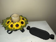 Primitive Sunflower Wreath Battery Operated Candle Tin Holder W/ Tray Set ❤️tb5m