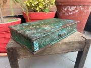 Ancient Wooden Hand Carved Painted One Drawer Beautiful Storage Goldsmith Box