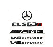 For Mercedes Emblem Star Boot Trunk Badge Cls63s Amg V8 Biturbo Glossy Black