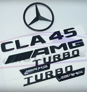 For Mercedes Emblem Star Boot Trunk Badge Cla45 Amg Turbo Amg Glossy Black Badge