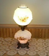 Gone With The Wind 3-way Puffy Lion Head Globed Floral Milk-glass Hurricane Lamp