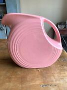 Old Vintage Fiesta Homer Laughlin Pink Disc Pitcher 1940and039s - 1950and039s