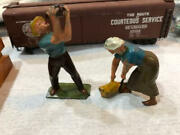 Farmer And Wife Lead Figures Made In France Good Condition Minor Flaking Read