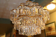 Stunning High End Crystal Chandelier Tiered Drum Style Faceted Square Prisms