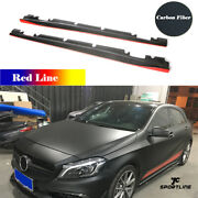 For Benz A200 A45 Amg Cla 250 Cla45 Amg 13-18 Real Carbon Side Skirts Red Line