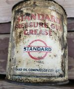 Antique Vintage Standard Pressure Gun Grease Gas Oil Can Advertising Sign Socony