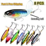 Fishing Lures Whopper Plopper Water Top Baits Rotating Tail Bass Trout 5/8 Packs