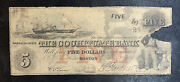 The Cochituate Bank Obsolete Note Boston Five Dollars Antique