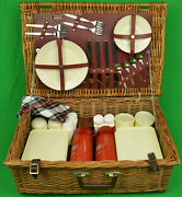Brooks Brothers Wicker Picnic Basket Made In England