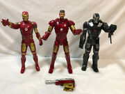 3 Iron Man War / Machine 12 Talking And Lights Action Figures 2007 And 2015