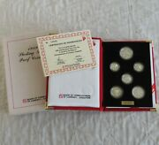 Singapore 1989 6 Coin Sterling Silver Proof Set - Cased/coa/outer