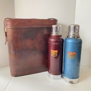 Vintage 1920's Stanley Double Thermos Tin Lunchbox Set In Leather Case