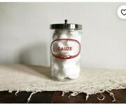 Pyrex Gauze Medical Doctor Office Apothecary Glass Jar With Lid Vintage Ware