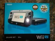 Nintendo Wii U Black 32gb Console Deluxe Set With Nintendo Land Brand New System