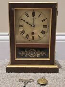 Antique Working 19th C. Early American Mechanical Wind-up Cottage Mantel Clock