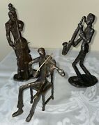 Vintage Solid Brass 3 Musicians/jazz 9.5 Detailed, Rare Statues/figurines