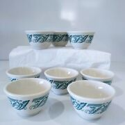 Syracuse China 8 Eight Custard Cups / Rice Bow White/ Blue Design Made In Usa
