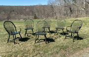 Vintage Set 6 Keystone Collection Country Windsor Kitchen Dining Chairs Green