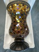 """Partylite Global Fusion Hurricane P8366 Retired Multicolor Glass Mosaic 12""""tall"""
