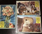Lot Of 3 Vintage Jaymar Jigsaw Picture Puzzles 500 Piece Pink Roses Fishing Dogs