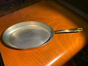 Vintage Copper And Steel Oval Skillet Fry Fish Saute Pan 8 X 12 Brass Handle Htf