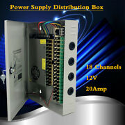 New18 Channels Power Supply Distribution Box 20a Dc 12v For Cctv Security Camera