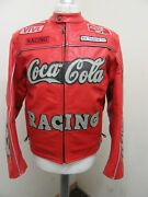 Vintage 80and039s Top Gear Leather Motorcycle Racing Gp Jacket Size M Cocacola Badges