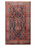 5and0397 X 10and0391 Antique Hand Knotted Wool Lilihaan Oriental Area Rug Midnight Blue
