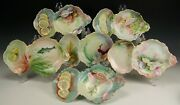 6 Limoges Hand Painted Seafood Oyster Trays Dishes