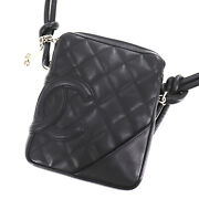 Cambon Quilted Shoulder Bag Black Leather Italy Vintage Authentic Ad30 Y