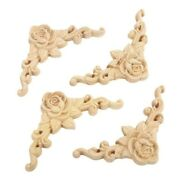 Applique Decal Rose Wood Carved Wooden Home Décor Crafts Unpainted 4× Hot Sale
