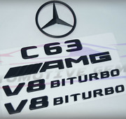 For Mercedes Emblem Star Boot Trunk Badge C63 Sedan V8 Biturbo Glossy Black W205