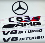 For Mercedes Emblem Star Boot Trunk Badge C63s Coupe V8 Biturbo Glossy Black Red