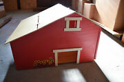 Homemade Handmade Custom Wooden Toy Barn Factory With Wing Machine Shed Painted
