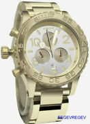 A New Nixon 42-20 Champagne Dial Gold Tone Menand039s Watch A0371219 Chronograph