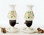 Pair Of Vintage White Glass Electric Hurricane Dresser Lamps Yellow Pink Flowers